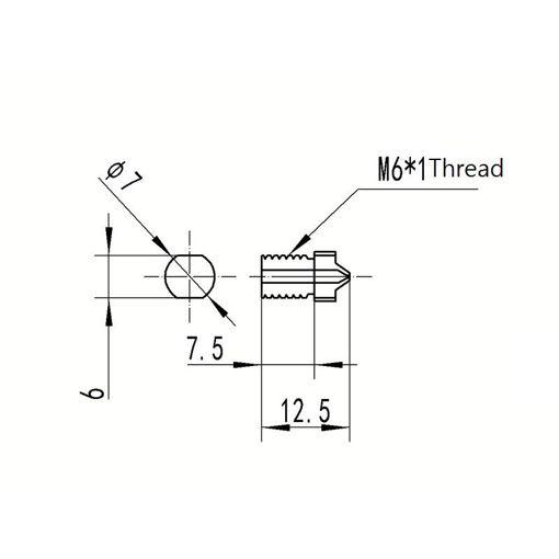 Picture of 1.2mm/1.5mm TC4 Titanium Alloy M6 Thread Nozzle For 3D Printer 1.75mm Filament