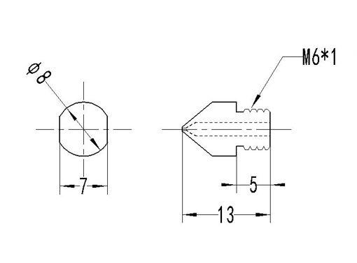 Picture of 0.3mm/0.4mm/0.6mm/0.8mm/1.0mm/1.2mm/1.5mm MK8 TC4 Titanium Alloy M6 Thread Nozzle For 3D Printer