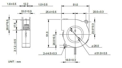 Immagine di DC24V Cooling Fan Ultra Quiet Turbine Small DC Blower 5015 For 3D Printer Circuit Board
