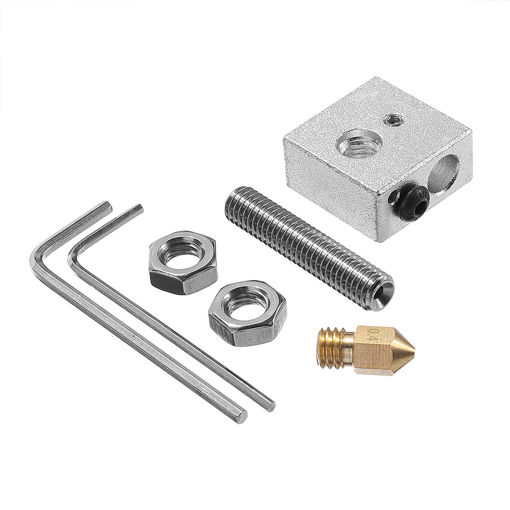 Picture of 0.4mm Brass Nozzle + Aluminum Heating Block + 1.75mm Nozzle Throat 3D Printer Part Kit with M6 Screw