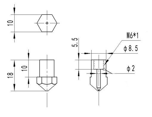 Picture of 0.4mm Creatbot Copper M6 Thread Extruder Nozzle For 1.75mm Filament 3D Printer Part