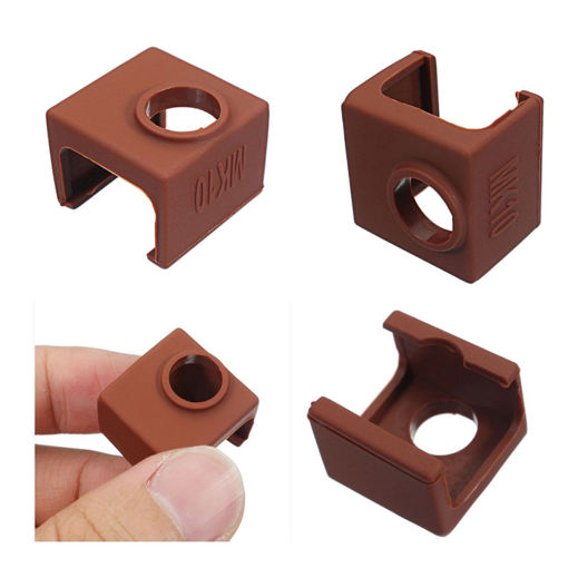 Picture of 5pcs MK10 Coffee Color Silicone Protective Case For Heating Aluminum Block 3D Printer Part Hotend