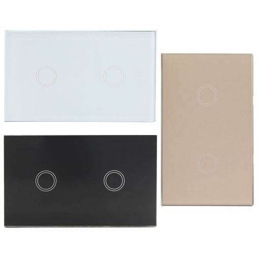 Picture of 1 Way 2 Gang Crystal Glass Remote Panel Touch LED Light Switch Controller With Remote Control