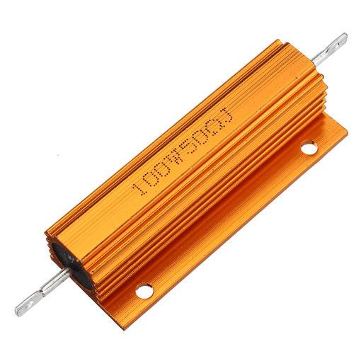 Picture of 10pcs RX24 100W 50R 50RJ Metal Aluminum Case High Power Resistor Golden Metal Shell Case Heatsink Resistance Resistor