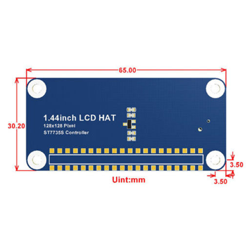 Picture of 1.44Inch 128x128 Pixels SPI Interface LCD Display HAT for Raspberry Pi