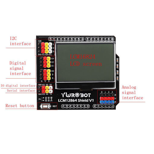 Picture of YwRobot LCM12864 Shield LCD Display Expansion Board For Arduino Electronic Building Blocks
