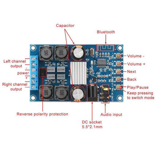Immagine di Dual Channel Digital bluetooth Amplifier Board Wireless BT 3.0/4.0/4.1 Audio Amp Board Without Niose 50W+50W