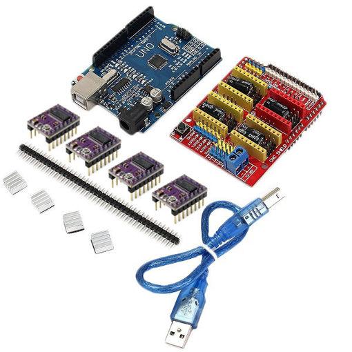 Immagine di Geekcreit CNC Shield + UNO R3 Board + 4 X DRV8825 Driver Kit For Arduino 3D Printer