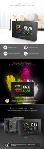 Picture of Digoo DG-C3 Wireless Color Backlit USB Hygrometer Thermometer Weather Forecast Station Alarm Clock