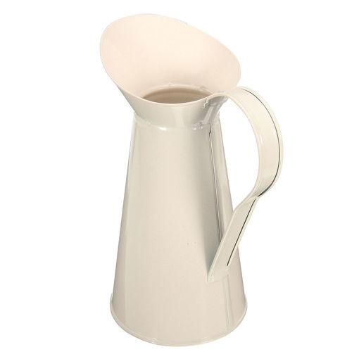 Picture of White Vintage Shabby Chic Cream Vase Enamel Pitcher Jug Pot Tall Metal Wedding Decor