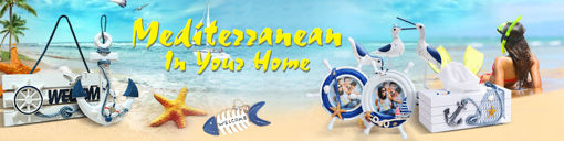Picture of Mediterranean Style Decorative Fish Net With Shells Blue White