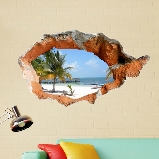Picture of 3D Beach Wall Decals 38 Inch Removable Sea Wall Art Stickers Home Decor