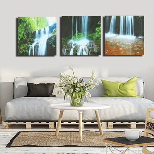 Picture of 3 Cascade Large Waterfall Framed Print Painting Canvas Wall Art Picture Home Decorate Living Room