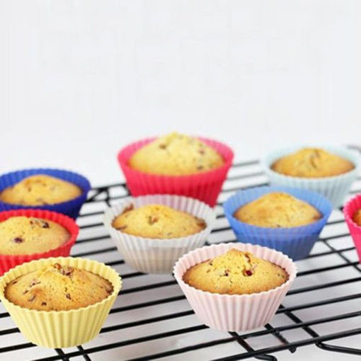 Picture of 12Pcs Silicone Cake Muffin Chocolate Cup Cake Cups Mold Cake Cup Kitchen Bakeware Baking Pastry Tools