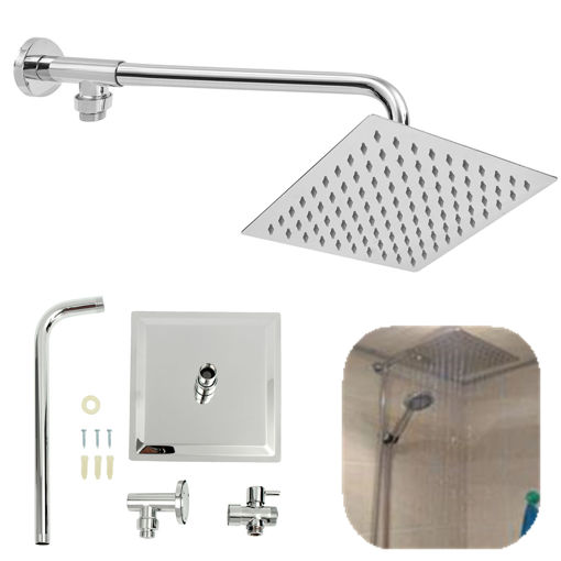 Picture of 8inch 304 Stainless Steel Square Shower Head Extension Arm Bottom Entry Shower Diverter Valve Set