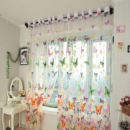 Picture of Butterfly Printed Sheer Window Curtains Tulle Door Window Screen