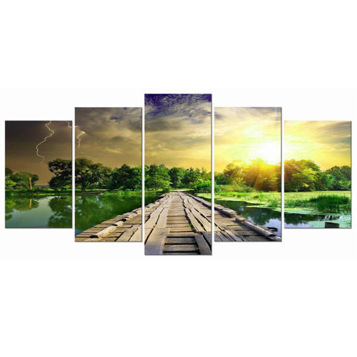 Picture of 5Pcs Modern Art Printing Lake Landscape Poster Canvas Painting Home Wall Decor