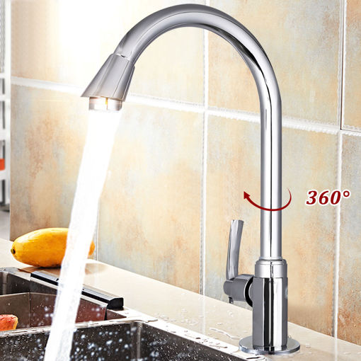 Picture of Stainless Steel Single Lever 360 Rotation Spout Kitchen Home Cold Water Faucet