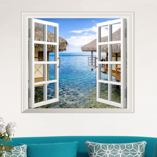 Picture of 3D Artificial Window View 3D Wall Decals Sea View Room Stickers Home Wall Decor Gift