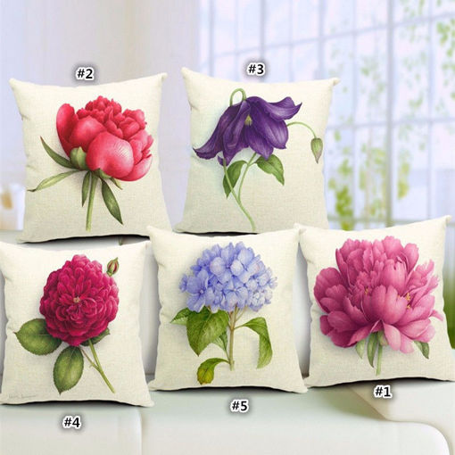 Picture of Rose Flowers Cotton Linen Throw Pillow Case Sofa Bed Car Cushion Cover Home Decor