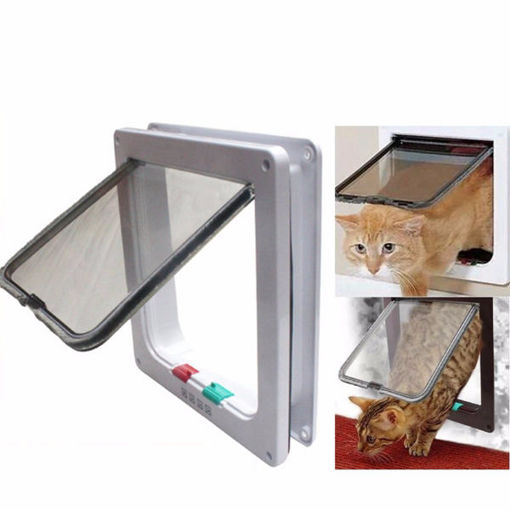 Picture of Medium Small White Pet Cat Puppy Dog Supplies Lock Frame Safe Security Flap Door Gate Pet Supplies