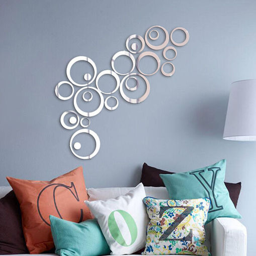 Picture of 24PCS Circle 3D DIY Home Decor TV Wall Sticker Decoration Mirror Wall Stickers