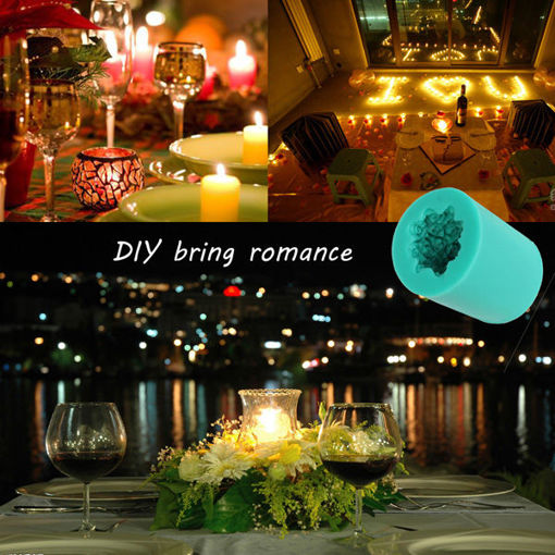 Picture of Silicone Rose Flower Candle Mold Soap Mould Cylinder Wedding DIY Baking Molds