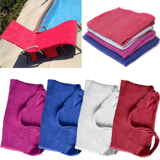 Picture of Microfiber Lounge Chair Beach Towel With Pockets Holidays Sunbathing Quick Drying Towels