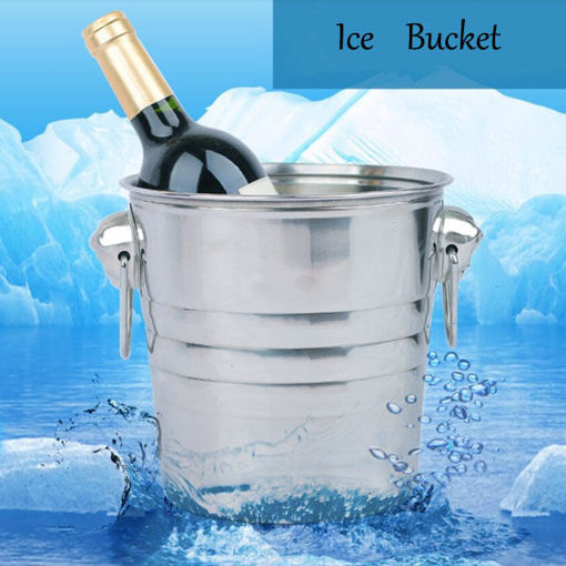Picture of Stainless Steel Ice Bucket Champagne Barrel Beer Wine Cooler Multifunction Bar Tools