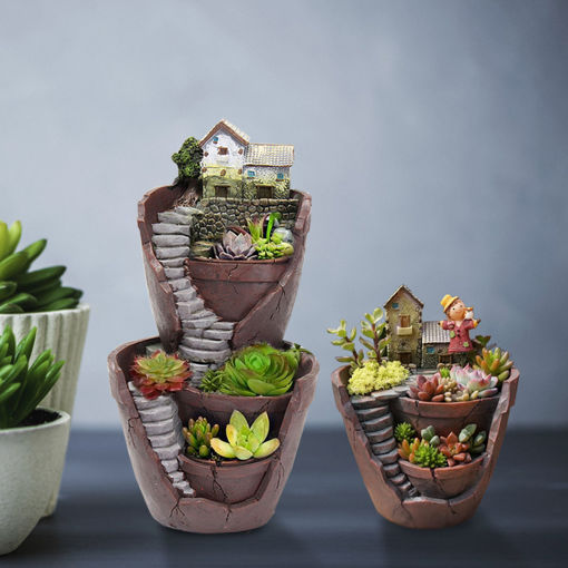 Picture of Sky Garden Potted Big House Micro Landscape Meat Plant Pots Flower Pot Resin Decorations