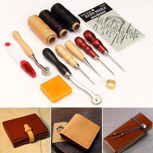 Picture of 13pcs Wood Handle Leather Craft Tools Kit Leather Hand Sewing Tool Punch Cutter DIY Set
