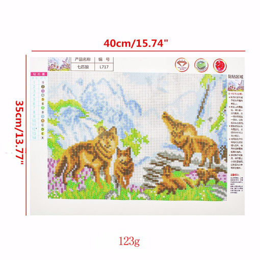 Picture of 40x35CM Wolves 5D Diamond Painting Embroidery DIY Craft Home Decor