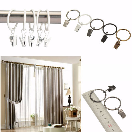 Picture of 40pcs Metal Window Bathroom Curtain Clips Rings Pole Rod Voile Drapery 32mm Inner Diameter