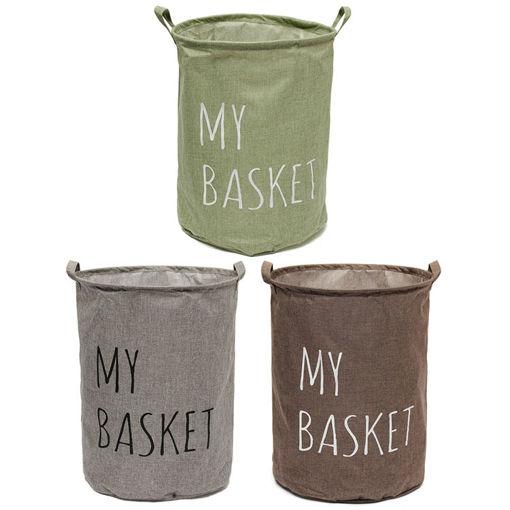 Picture of Cotton Linen Fabric Foldable Laundry Washing Hamper Bag Clothe Basket Storage Bin