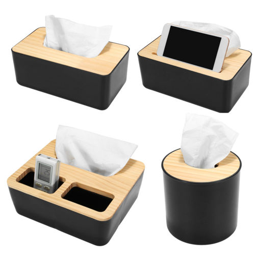 Picture of Wooden Cover Tissue Box Paper Napkin Storage Holder Case Organizer Container