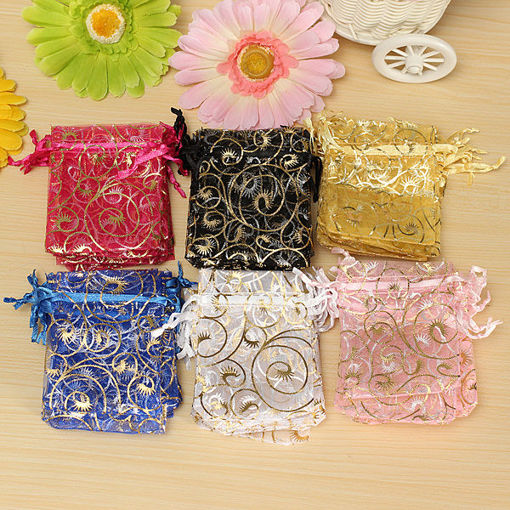Picture of 100PCS Organza Gift Pouch Jewelry Gift Candy Bag Packing Drawable Wedding Party Gift Bags