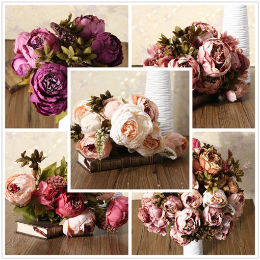 Picture of Artificial Peony Bouque Silk Flowers Home Room Party Wedding Garden Decoration
