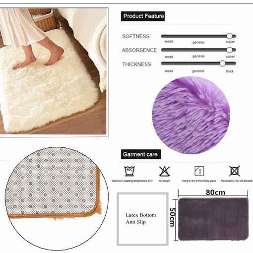Picture of 80x50cm Absrobent Shaggy Carpet Home Anti Slip Rug Bedroom Soft Mat