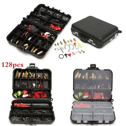 Picture of 128pcs Fishing Lures Hooks Baits Black Tackle Box Full Storage Case Tool Set