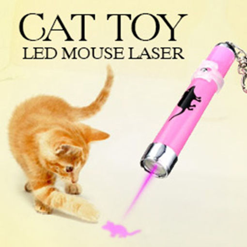 Picture of Pet Cat Play Toy LED Laser Pointer Light with Bright Mouse Animation