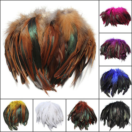 Picture of 100pcs Fluffy Fashion Rooster Feather Craft DIY 6-8