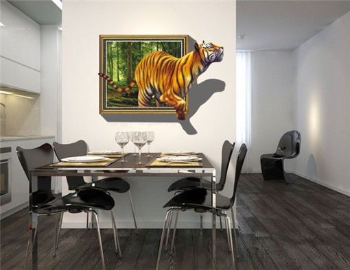 Picture of 3D Removable Tiger Wall Decal Wall Stickers Home Bedroom Wall Background Decoration