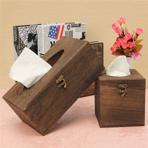 Picture of Vintage Wood Burning Tong Chinese Restaurant Tissue Box