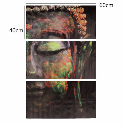 Picture of 40x60cm Buddha Statues Triple Frameless Canvas Prints Oil Painting Wall Art Home Decoration