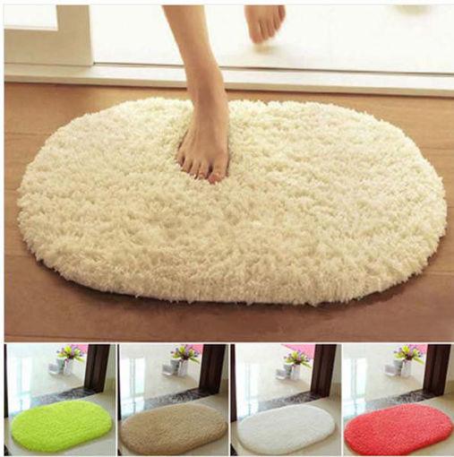 Picture of 40x60cm Lint Plush Non Slip Absorbent Bathroom Floor Mat Oval Kitchen Carpet Rug