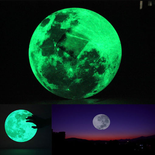 Picture of 30cm Large Moon Wall Sticker Removable Glow In The Dark Sticker