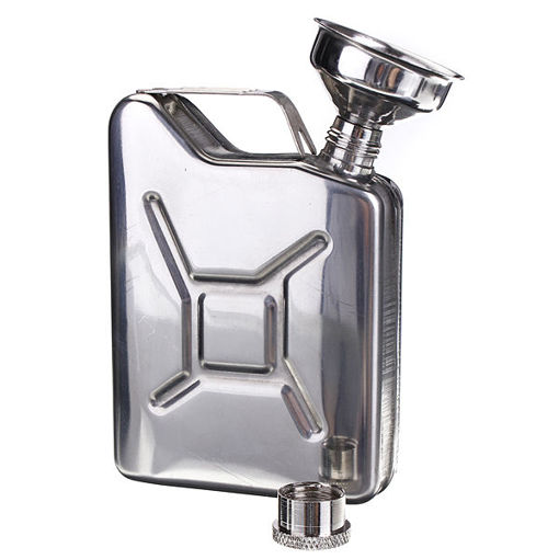 Picture of Portable 5oz Stainless Steel Mini Hip Flask Liquor Whisky Pocket Bottle With Funnel