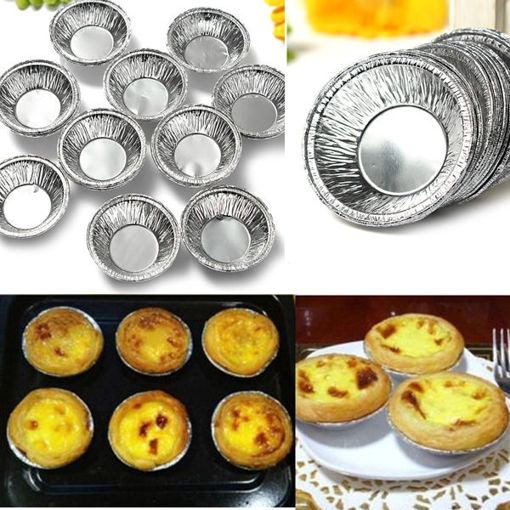 Picture of 125Pcs  Disposable Round Silver Foil Baking Cookie Cup Cake Tart Mold