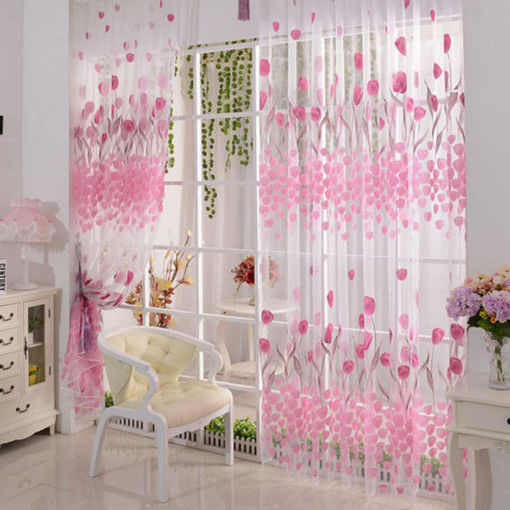 Picture of 100x200cm Soft Tulle Tulip Flower Window Screen Home Sheer Window Curtain