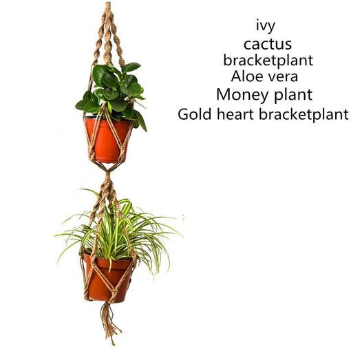 Picture of 110cm Double Layer Hemp Jute Rope Plant Flower Pot Hanger Holder Macrame Hanging Basket